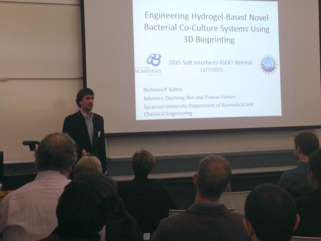 IGERT Fellow, Nick Kelley presenting during 2015 IGERT Retreat