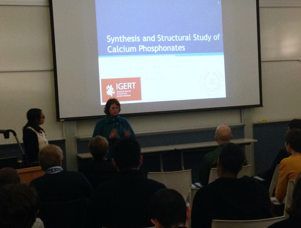IGERT Fellow, Valerie Lopez along with her advisor, Dean Karin Ruhlandt-Senge at the 2015 IGERT Retreat